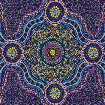 M&S Textiles Wild Bush Flowers Purple