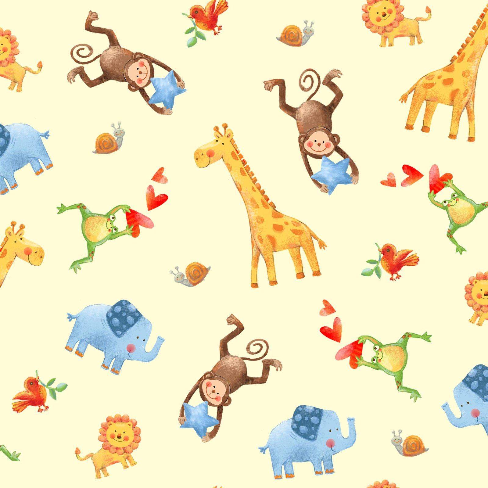 Jungle Party-Allover Animals Cream