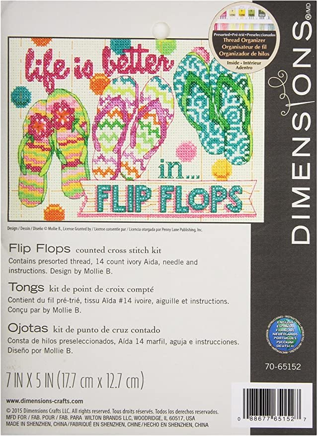 Counted Cross Stitch Kit Flip Flops
