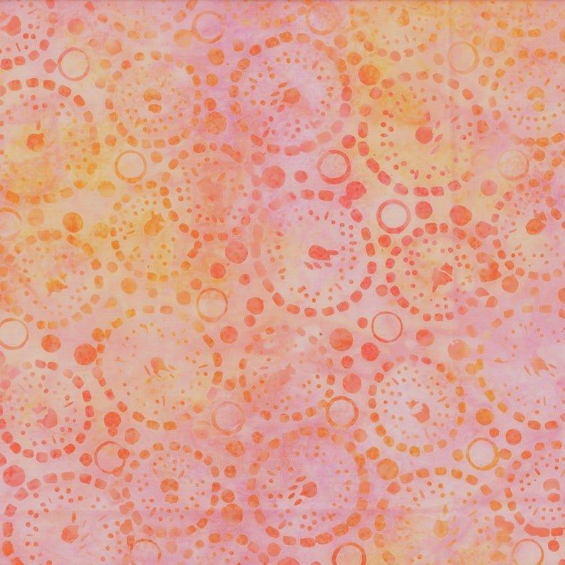 Orange Dotted Circles Batik
