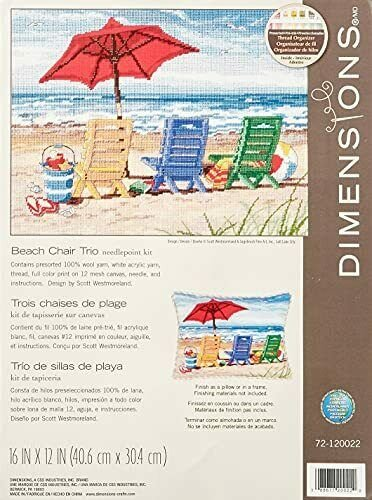 Beach Chair Trio Needlepoint Kit - 16x12