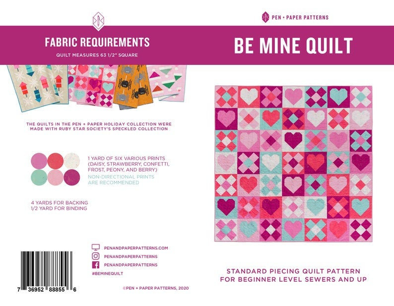 Be Mine Quilt Pattern by Pen + Paper Designs