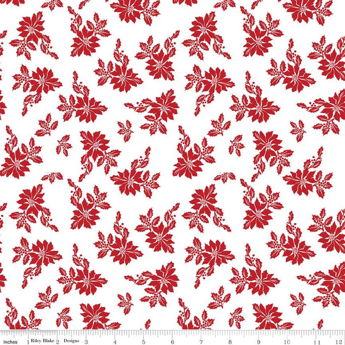 Santa Claus Lane Poinsettias White for Riley Blake