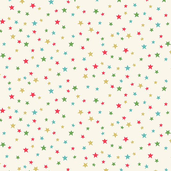 Let It Snow Multi Star Cream by Makower UK for Andover Fabrics