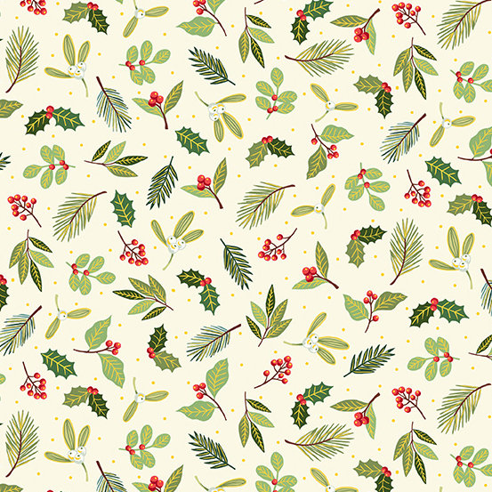 Yuletide Scatter Cream by Makower UK for Andover Fabrics