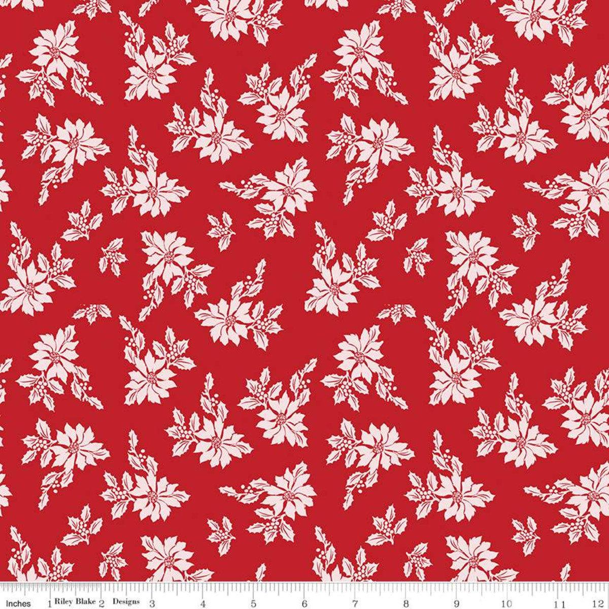 Santa Claus Lane Poinsettias Red for Riley Blake
