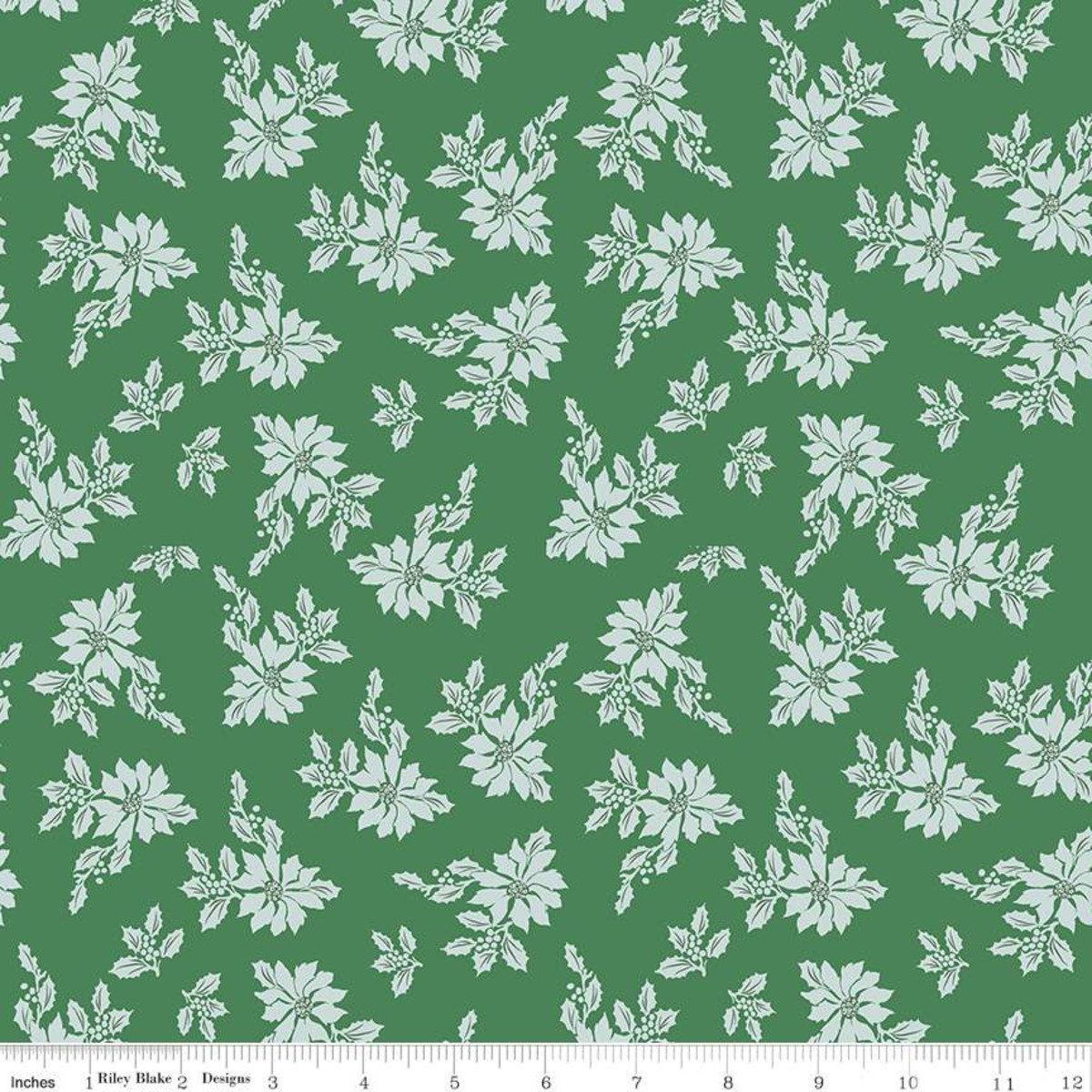 Santa Claus Lane Poinsettias Green for Riley Blake