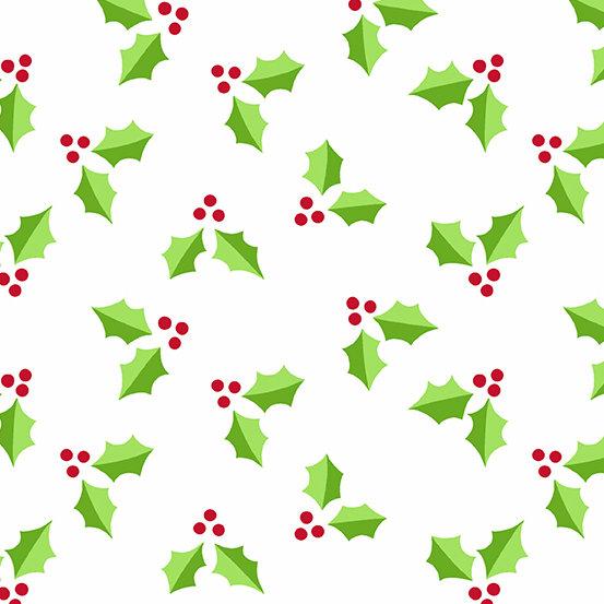 White Holly Very Merry by Kim Schaefer for Andover Fabrics - Fat Quarter