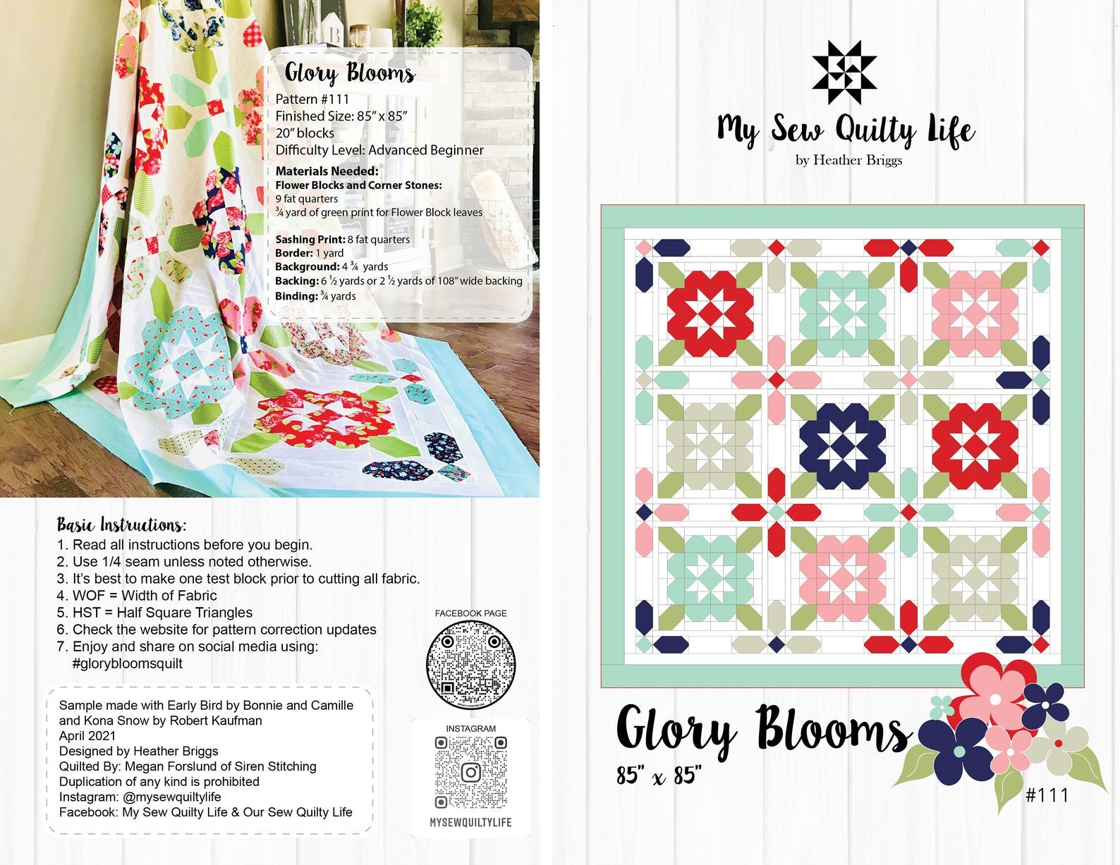 Glory Blooms Quilt Pattern by My Sew Quilty Life