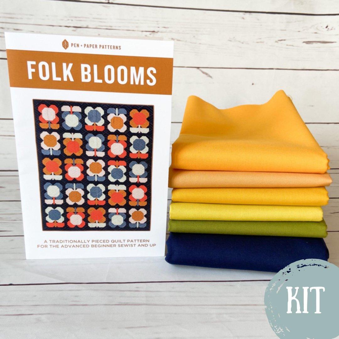 Folk Blooms Quilt Kit- Sunflower Option