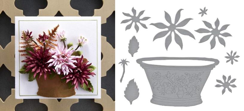 Cactus Dahlia and Ornamental Garden Pottery