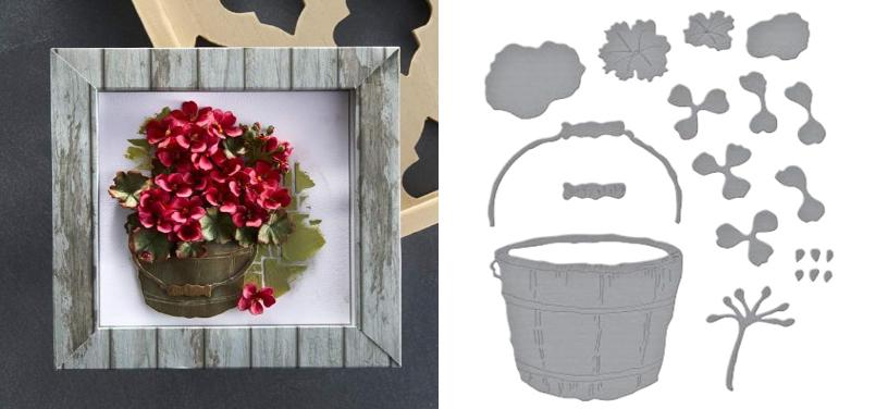 Geranium and Antique Wooden Bucket