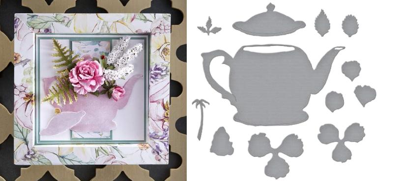 Hybrid Tea Rose and Tea Pot