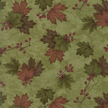 MODA HOLLY TAYLOR COUNTRY ROAD MOSS GREEN WITH GREEN AND BROWN MAPLE LEAVES 6668 23
