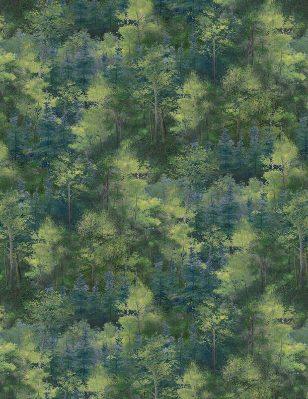 Wilmington Prints-Packed Trees Dk. Green