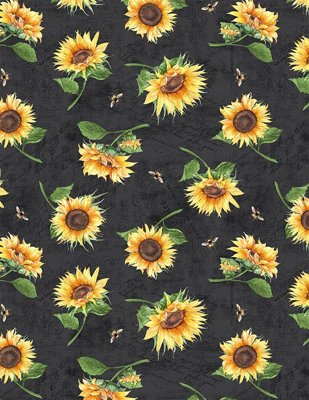 Wilmignton Prints( black sunflowes and bees black)