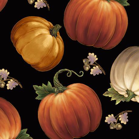 QT- Harvest Elegant (Tossed Pumpkins Black)