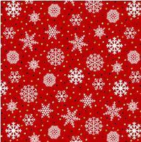 Snow Bird Flannel: Snowflake Red