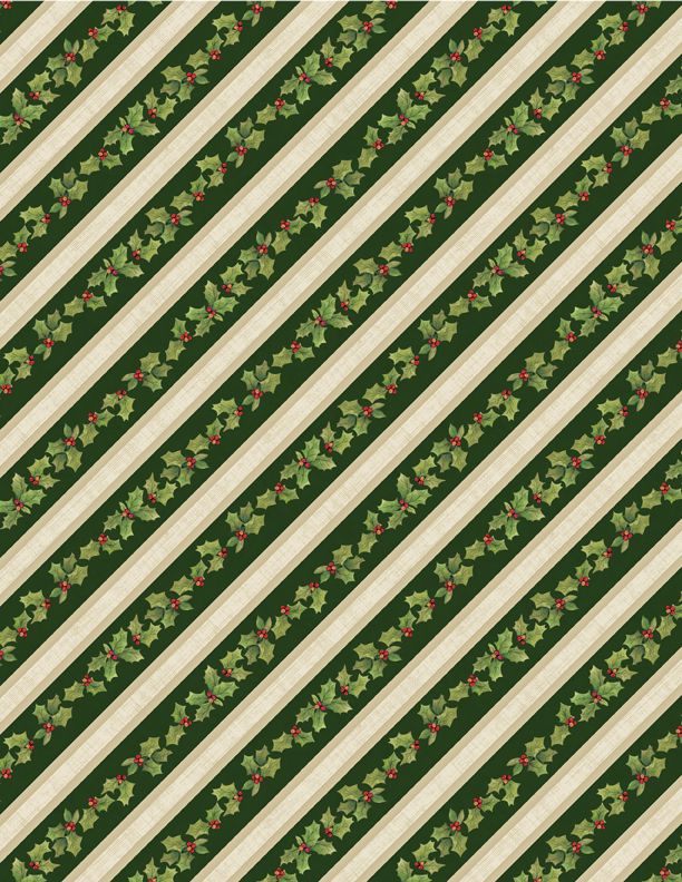 Wilmington Prints: Evergreen Holly Stripe Green