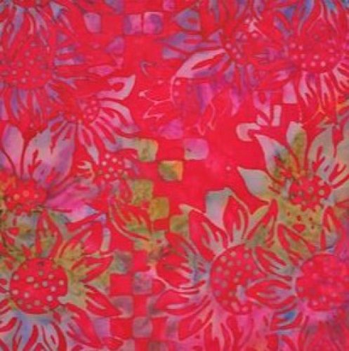 Batik Textiles red with flowers that are multi color