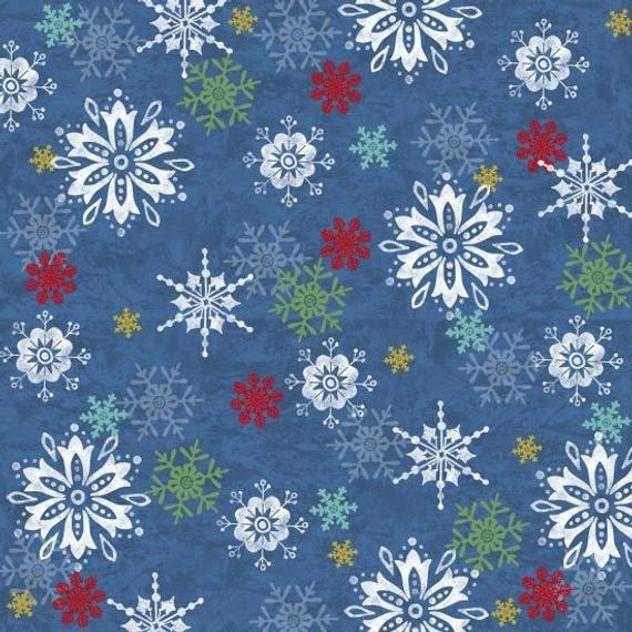 STUDIO E WINTER JOY BLUE W/ MULTI COLOR SNOWFLAKES 3801-77