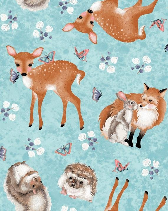 FOREST FRIENDS BLUE WITH BABY ANIMALS 4353-11