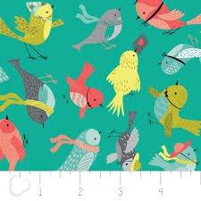 IT'S A BIRDS LIFE BIRDIES TURQUOISE W/ ALLOVER BIRDS CAMELOT FABRICS EE SCHENCK