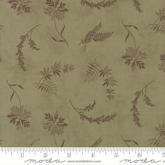 FERN HILL BY JAN PATEK 2182 14 MOSS GREEN WITH FERN/FLOWER BRANCHES