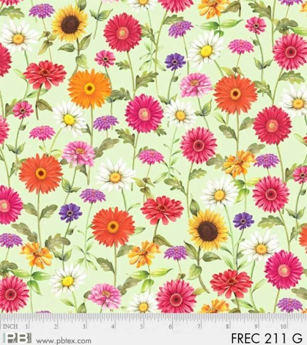 FRESH COUNTRY GREEN W/ MULTI COLORED FLOWERS 211-G