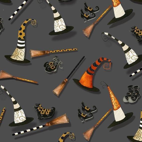 CHEEKY PUMPKINS GRAY/HATS/BROOMS/BOOTS 2961-90