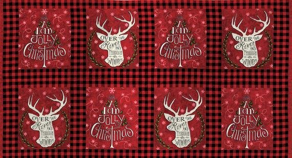 HEARTHSIDE HOLIDAY PANEL RED WITH HOLIDAY SAYINGS 19830-12