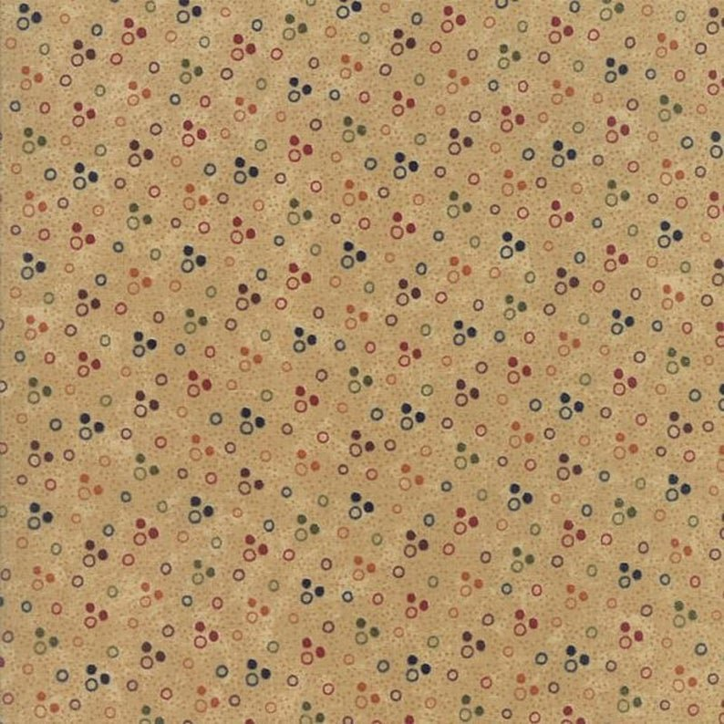 MODA KANSAS TROUBLES THISTLE FARM SAND WITH RED/BLUE BROWN/GREEN DOTS 9535 11