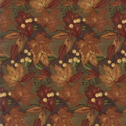 MODA HOLLY TAYLOR COUNTRY ROAD EARTH MOSS GREEN GOLD BROWN RUST MAPLE LEAVES WITH GOLD BERRIES 6662 21