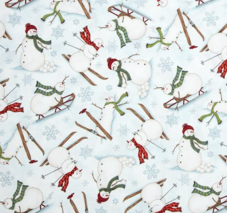MAYWOOD FROLIC IN THE SNOW FLANNEL SNOWMEN ON SLEDS AND SKIS MASF8700-B