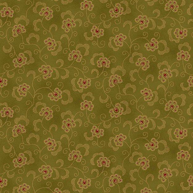 WINTER BLESSINGS GREEN/FLOWERS 6373-66