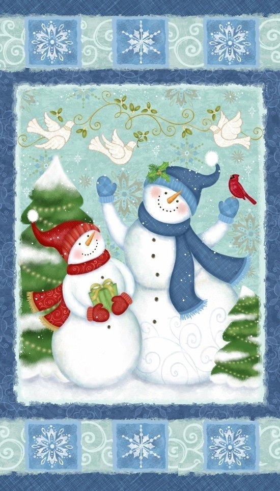 STUDIO E WINTER JOY PANEL BLUE WITH SNOWMAN 3800P-71