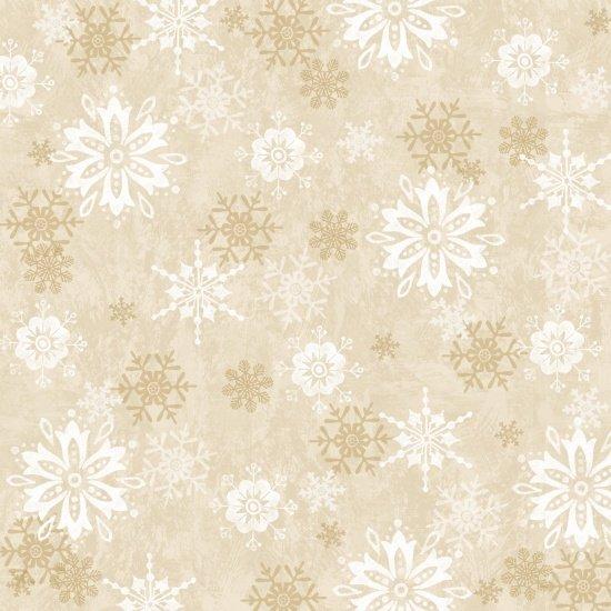 STUDIO E WINTER JOY CREAM W/ WHITE & GOLD SNOWFLAKES 3801-44