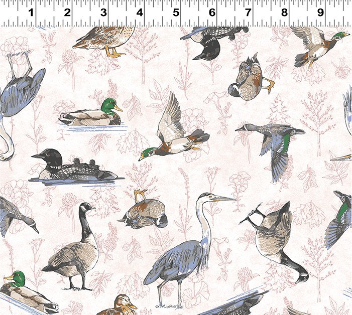 2019 SHOP HOP WATERFOWL WHITE BACKGROUND Y2745-1