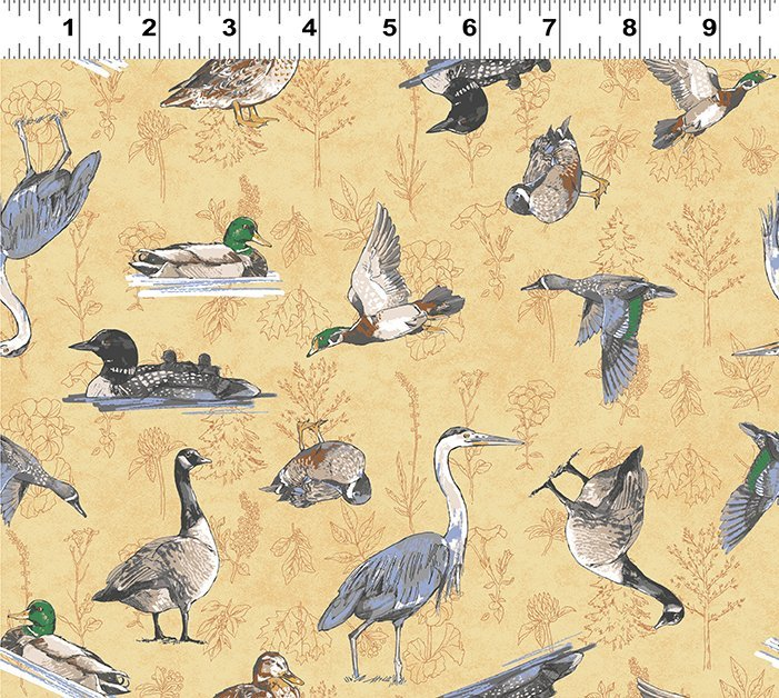 2019 SHOP HOP WATERFOWL GOLD BACKGROUND Y2745-68