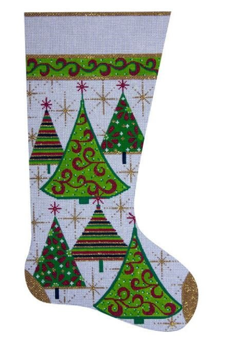 Gold Christmas Trees Stocking
