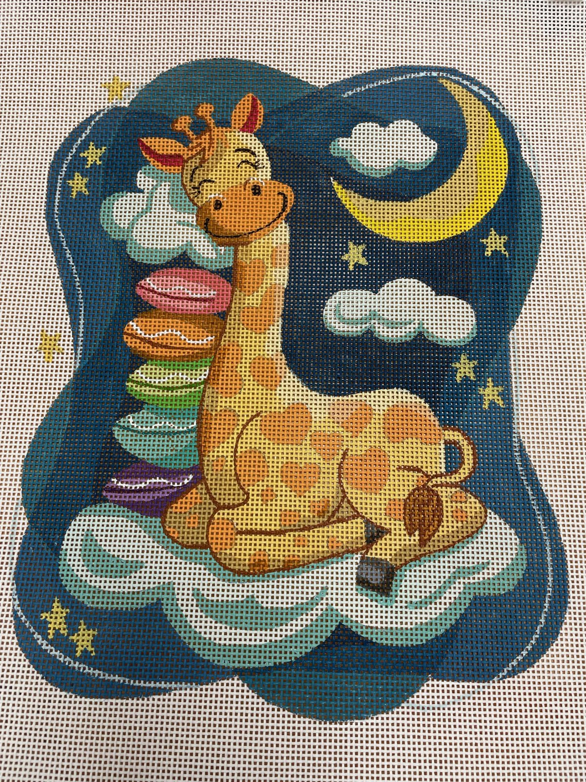Sleeping Smiling Giraffe with Pillow Stack