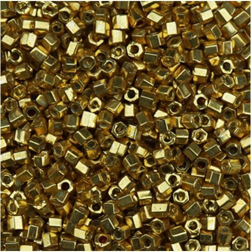 Galvanized Gold Hex Beads - Size 11