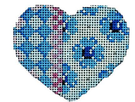 Harlequin Checks Flowers Blue Pink Mini Heart