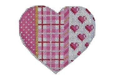 Pink Pin-Dot Plaid Hearts Heart