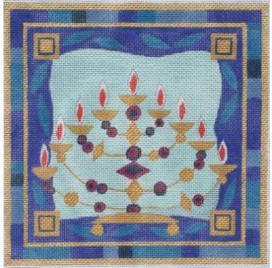 Menorah on Blue Background