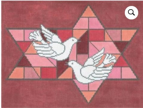 Stained Glass Doves Red Tallis