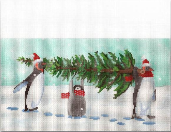 Penguins Carrying Tree Stocking Cuff
