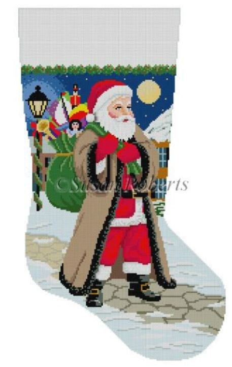 Santa Coming Up Sidewalk Stocking