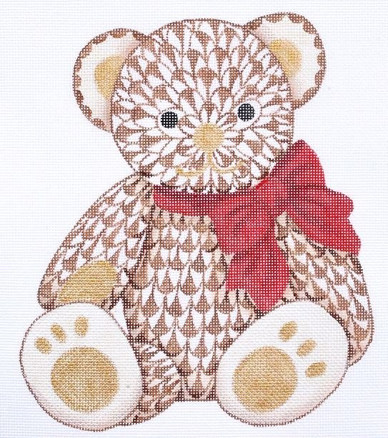 Herend-Inspired Fishnet Teddy Bear in Browns with Red & Gold