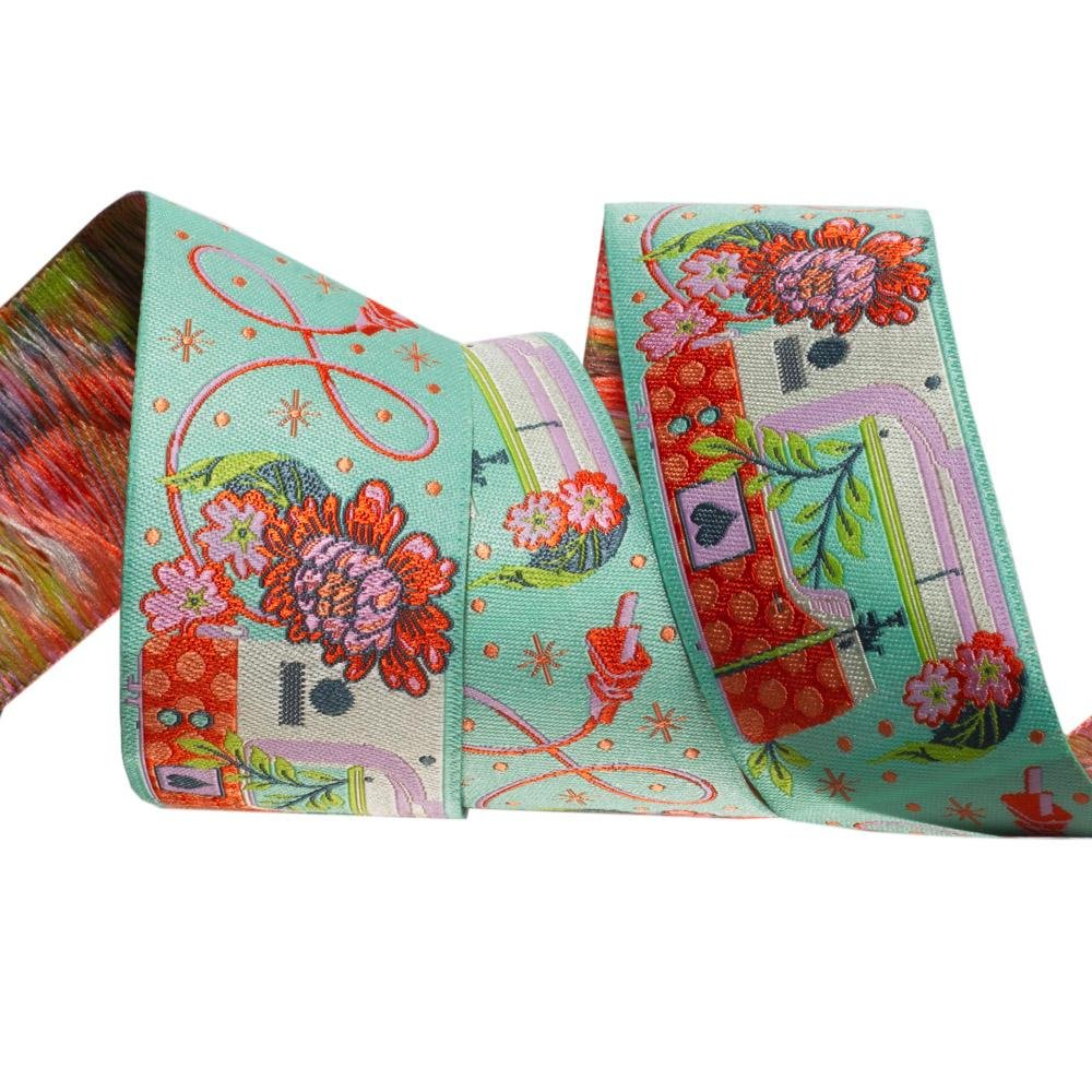 Tula Pink Ribbon- Pedal to the Metal, Morning Green 1-1/2 in wide
